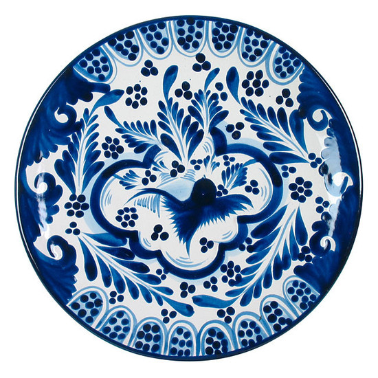 hacienda talavera plate sky blue