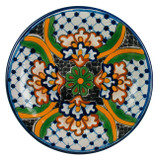country style talavera plate green blue