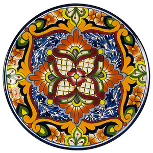 handcrafted talavera plate orange red