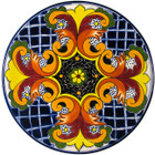 painted talavera plate red cobalt