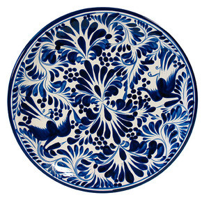 hand crafted talavera plate dark blue
