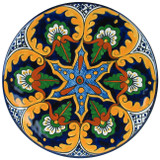 decorative talavera plate yellow blue
