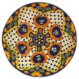 rustic talavera plate brown yellow