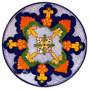 mexican talavera plate brown green
