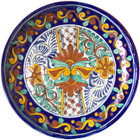 country style talavera plate cobalt green