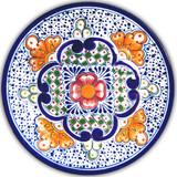 handmade talavera plate blue yellow