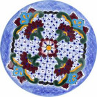 porcelain talavera plate red blue