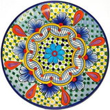 clay talavera plate orange blue