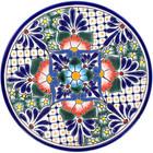mexican talavera plate cobalt orange