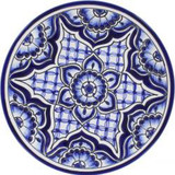 spanish talavera plate sky blue
