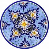 country style talavera plate black blue