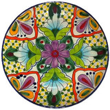 southern talavera plate green orange