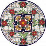 handmade talavera plate red green