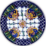 handcrafted talavera plate cobalt green