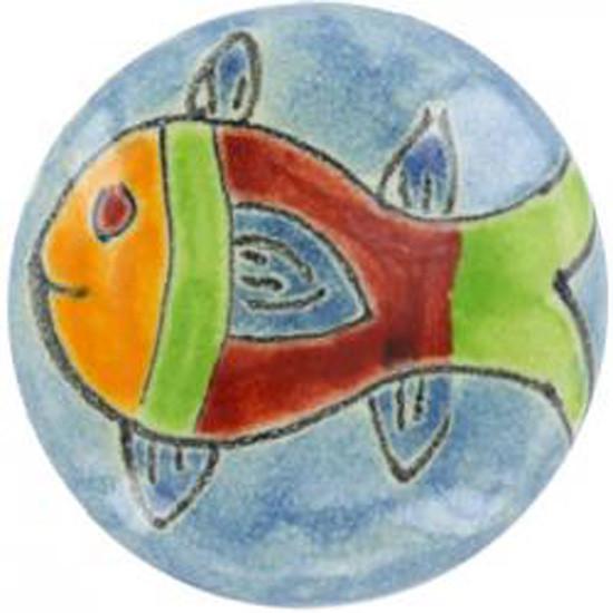 brown sky blue ceramic pull knob
