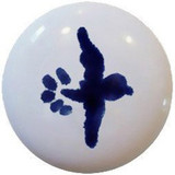 cobalt blue white ceramic pull knob