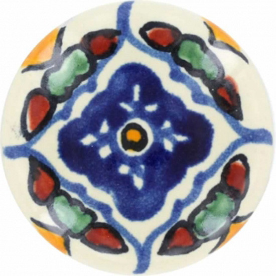 blue white ceramic pull knob