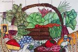 tile mural vegetable and wine