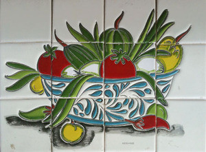 vegetable bowl bathroom wall relief tile mural