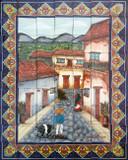 mexican garden tile mural