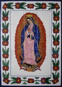 the Guadalupana bathroom wall tile mural
