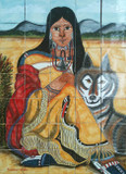 woman and coyote shower tile mural