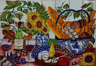 bread and flowers kitchen wall tile mural