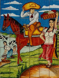 tile mural the charro and the lady