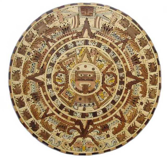 medium aztec wooden calendar wall plaque table-top