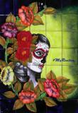 Catrina face wall tile mural