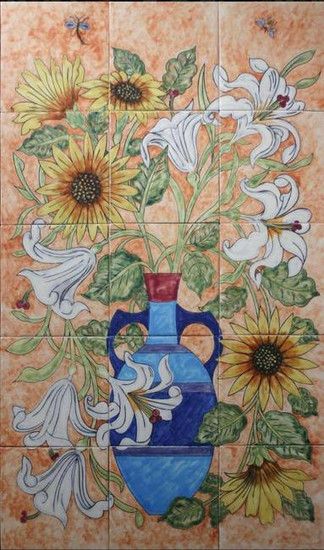 sunflower and lily patio tile mural