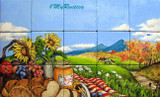 picnic with bread and honey bathroom wall tile mural