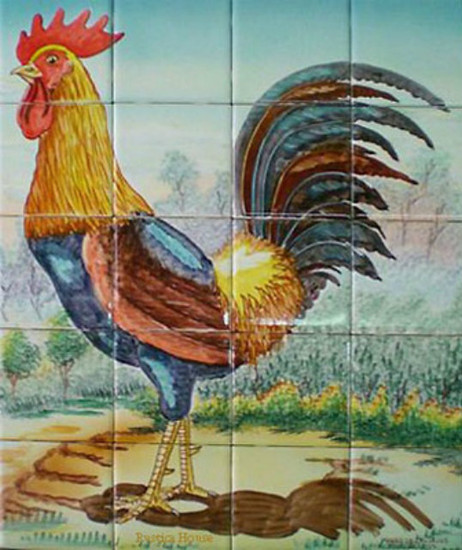the rooster kitchen tile mural