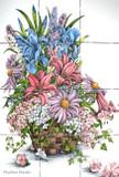 irises and lilies kitchen backsplash tile mural