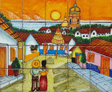 couple in town wall tile mural