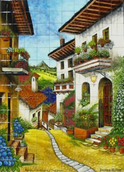 flowers street shower tile mural