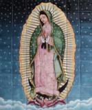Virgin Guadalupe with stars kitchen backsplash tile mural