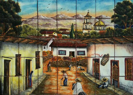 small town garden tile mural