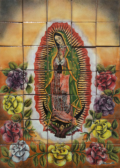 Our Lady of Guadalupe II shower tile mural