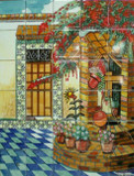 water well garden tile mural