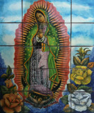 virgin Guadalupe with roses kitchen wall tile mural