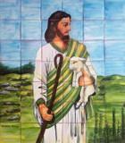 cordero de Dios garden tile mural