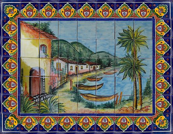 wonderful patio tile mural