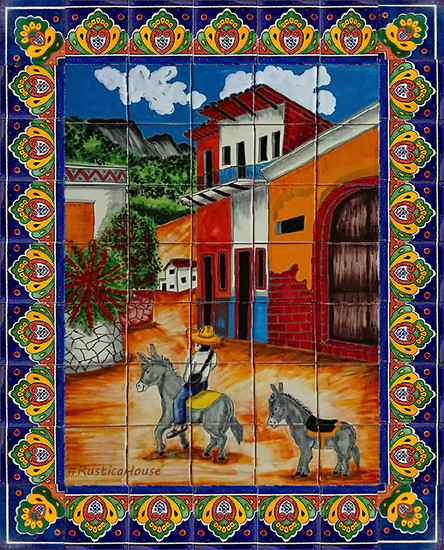 tile mural town and donkeys