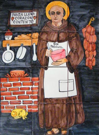 St. Pasqual Baylon  wall tile mural