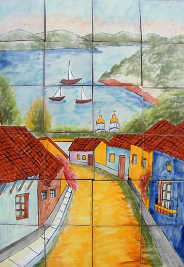 sailboats wall tile mural