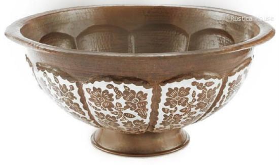 copper vessel sink folk art
