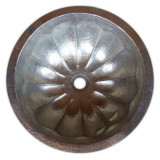 round nickel-platted copper bath sink