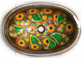 oval copper bathroom sink with sunflower
