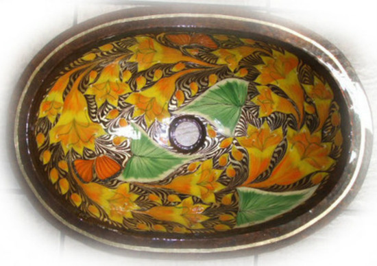 oval hammered copper bathroom sink